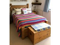 Wooden Frame Double Bed - rustic, chunky style made by Indigo Furniture