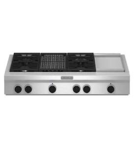 "KITCHENAID KGCU484VSS 48"" GAS 4 BURNERS COOKTOP(BD-1505)"
