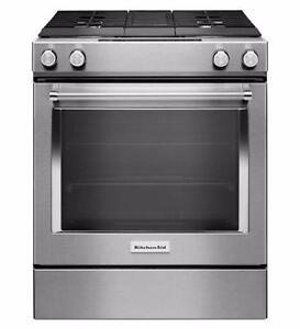 Cuisinière 30'', bi-énergie, ventilation intégrée, Stainless, KitchenAid