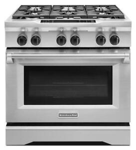 "KITCHENAID  KDRS467VSS 36"" GAS 6 COOKTOP BURNERS (BD-1498)"