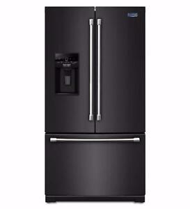 Réfrigérateur 36'' noir portes françaises, Eau et glace, Maytag, NEUF