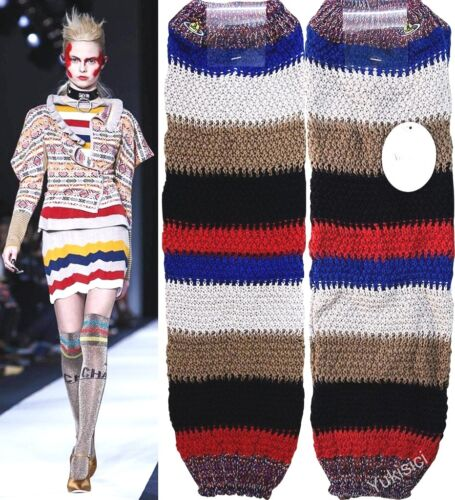 "Vivienne Westwood Japan Leg Warmers Multi-Colored Stripes Orb Embroidered-20.5""L"