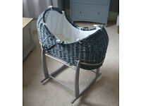 Clair De Lune grey moses basket and rocking stand - as new, unused