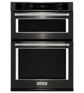 KITCHENAID NEW KOCE500EBS 30 COMBI, 5.0 CU FT + 1.4 CU FT., TRUE CONVECTION  COMBI WALL OVEN (BD-1558)