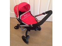 Silver Cross Surf Red Toy Doll's Rear Or Front Facing Convertible Pram To Pushchair