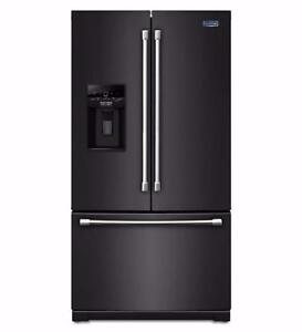 36-inch Black French doors Refrigerator, Water and ice, Maytag, NEW