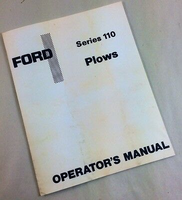 Ford Series 110 Plows Operators Owners Manual