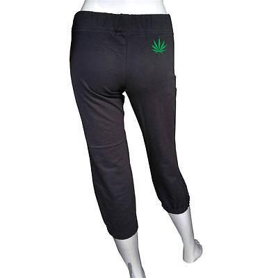 (NW WOMEN'S PRINTED MARIJUANA WEED CAPRI PANTS Elastic waistband DRAWSTRING BLACK)