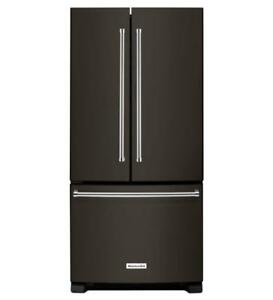 """KitchenAid 22 Cu. Ft. Black Stainless Steel  33"""" Wide Standard Depth French Door Refrigerator on Reduced Price (BD-1990"""