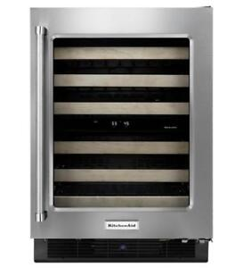 """KitchenAid® 24"""" Stainless Steel Wine Cellar with Wood-Front  KUWR204ESB(MP_153)"""