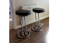Pair of Chrome & Black Stools