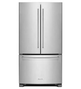 KitchenAid KRFC300ESS Counter Depth French Door Fridge 20 Cu Ft, Led Lighting, Hidden Hinge, Electronic Controls, Intern
