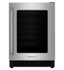 KITCHENAID NEW KURR204ESB 4.9 CU FT., RIGHT DOOR SWING, BLACK INTERIOR,3 GLASS SHELVES, DOOR ALARM,BLACK GRILL(BD-1599)