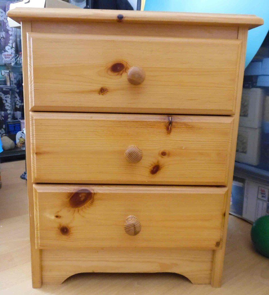 Vintage Pine Bedside Chest of Drawers