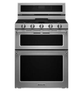 30-inch KitchenAid Dual Fuel Stove, Double Oven, Stainless, Showroom