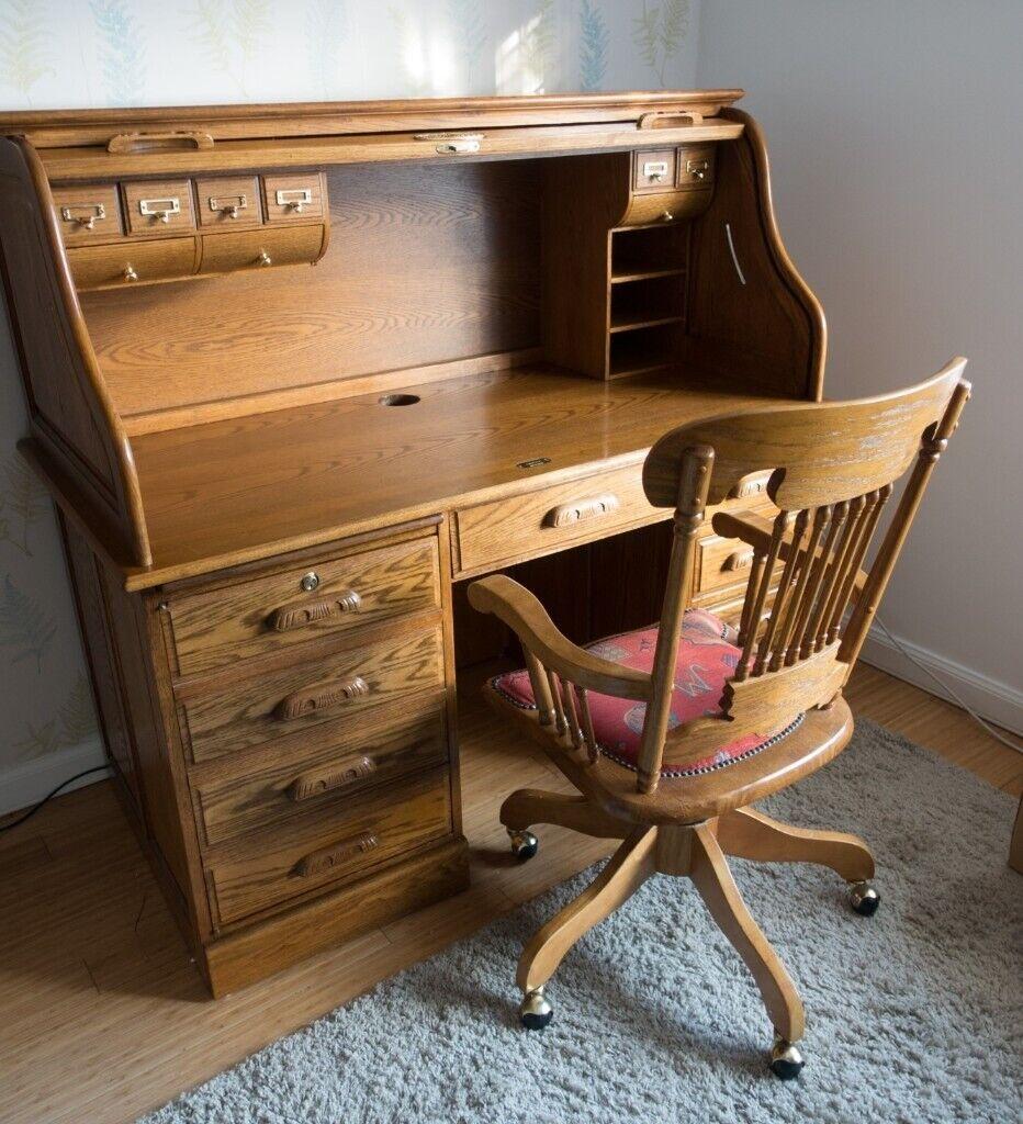 8ff16f0f25aba Oak Roll Top Desk with Office Chair