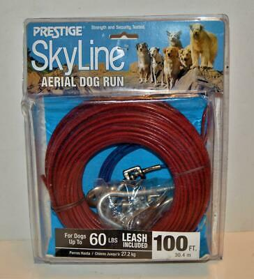 NEW Prestige 100ft Skyline Aerial Dog Run w Leash up to 60 lb Boss Pet Products