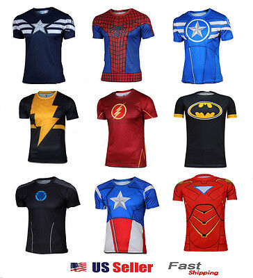 Superhero Halloween Costume T Captain America  Spiderman T-Shirt Cycling Jersey ](Superhero T Shirt Costume)