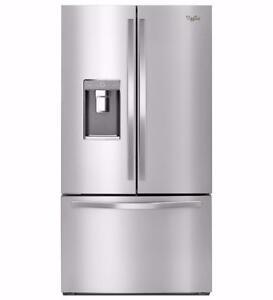 Réfrigérateur porte françaises 36'', Eau et Glace, Congélateur en bas, Whirlpool