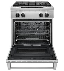 "KITCHENAID NEW KDRS407VSS 30"" GAS RANGE WITH ELECTRIC OVEN WITH TRUE CONVECTION,(BD-1496)"