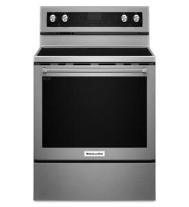 KitchenAid® YKFEG500ESS 30-Inch 5-Element Electric Convection Range-Brand New(MP_157)