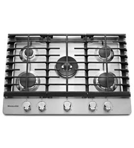 KITCHENAID NEW KCGS550ESS 30 GAS, 5 BURNERS GAS COOKTOP (BD-1510)