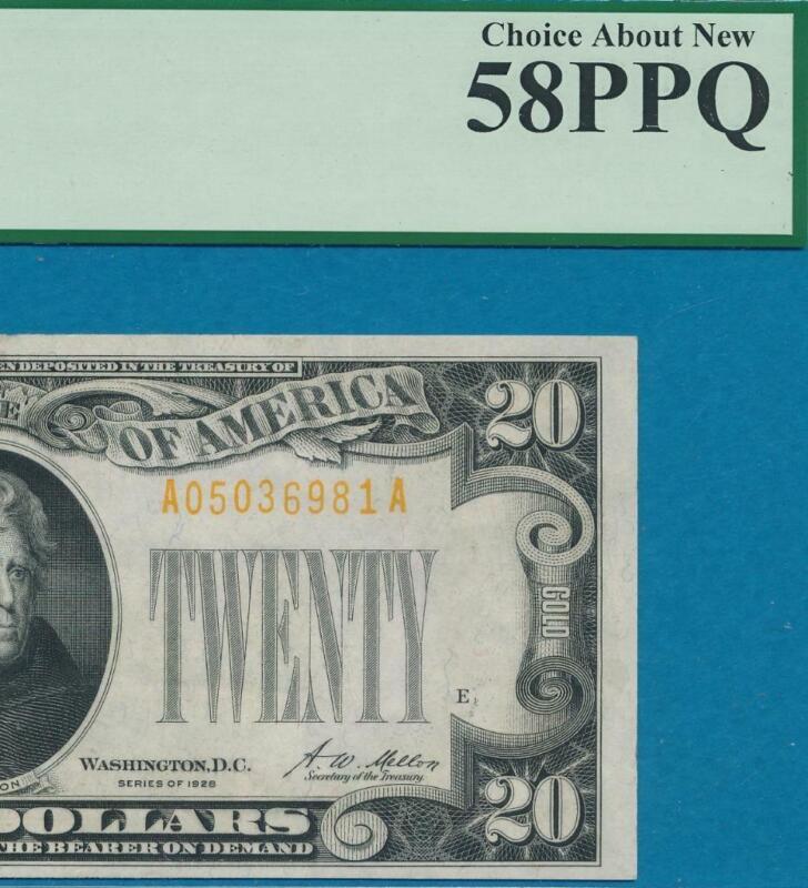 $20. 1928 GOLD SEAL GOLD CERTIFICATE PCGS AU58PPQ
