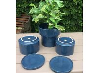3 Glazed Pottery Plant Pots with matching trays, very good condition