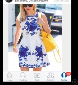 DRESS white blue FLOWERS SKATER zip back short 10 thick patterned fabric