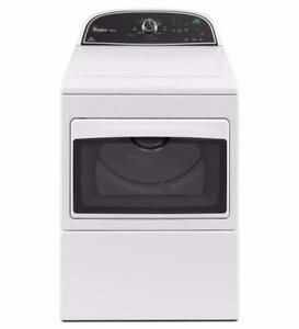 27-inch Gas Dryer Whirlpool, 7.4 cu ft, Black and White