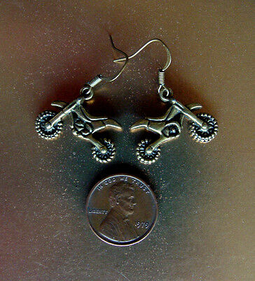 MOTORCYCLE BIKER EARRINGS - DIRT BIKE - GREAT DETAIL! Off Road Cycle Jewelry