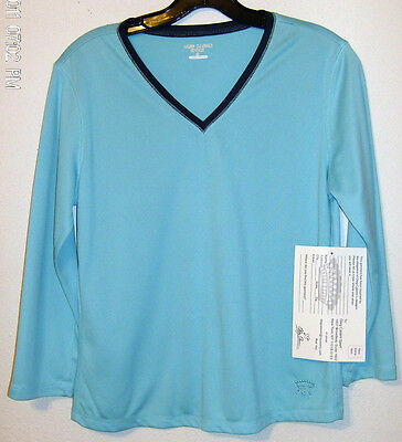 Oleg Cassini Sport Top Pullover Aqua Navy With Tags Size Small Ladies Poly