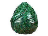 -SHERWIN & COTTON- LARGE c1922 STUDIO ART POTTERY GREEN OVOID MARLE VASE -S3/22-