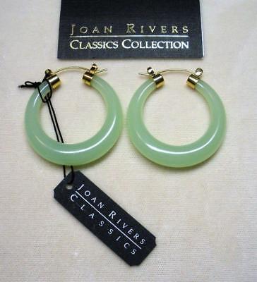 New Joan Rivers Gold Ep Lucite Look Of Jade Green Jade Hoop Pierced Earring