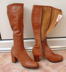 Ladies brown leather boots.