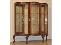 Attractive Vintage Art Deco Walnut Two Glazed Door Display Cabinet Etched Glass