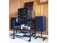 Technics stacking Deck, Tuner, CD Player, Integrated Amp, Cassette Deck, Speakers. Very good cond.