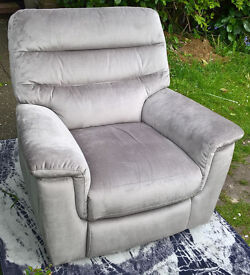 Ex-display Development Beige Velvet Reclining Arm Chair.