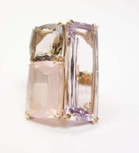 LARGE H Stern Cobblestone Ring 18K Gold Amethyst, Rose Quartz & Diamonds