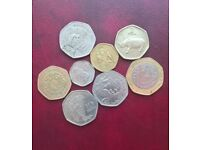 Small job lot 50p style 7 sided coins