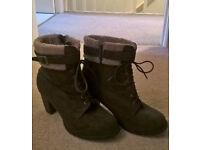 "Size 10 Faux-fur dark brown suede Boots - 2.5"" heels - Never worn!"