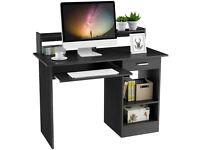 Yaheetech Black Computer Desk with Drawers Storage Shelf Keyboard Tray