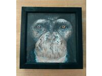 "An 8x8"" chimpanzee watercolour painting on canvas in a black wooden frame. Painted by myself."