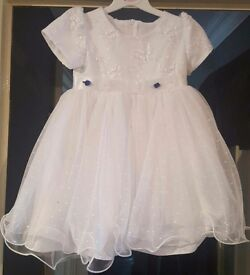 Babies dress with matching frilly knickers and hair clip