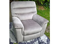 Ex-display Designer Beige Fabric Material Electric Reclining Arm Chair.