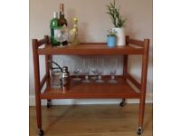 Original Mid-Century 2 Tier Teak Drinks Trolley Cocktail Cart Danish Retro 1960s