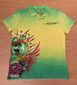 "Brand new vintage Ed Hardy men's medium yellow and green ""Dedicated To The One I Love"" polo shirt"