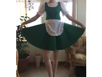 Irish Jig Green Dress with Red Lining , age approx 9-11 ish