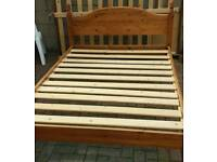 Solid pine double bed with silent night mattress