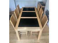 Oak & Black Welsh Slate Dining Table & 6 Chairs